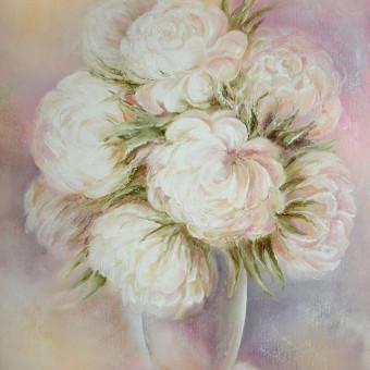 Baltu bijunu ziedai 48x62