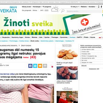 """Straipsnis Valstybinės ligonių kasos projektui """"Žinoti sveika""""."""
