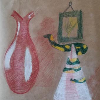 Vaiko (8m.) kūrybinis figūrų piešimas ir apipavidalinimas. A3-2, tonuotas popierius, sepija, kreida, akvareliniai pieštukai.