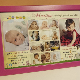 Su rėmeliu arba be rėmelio. Pirmųjų kūdikystės nuotraukų dizainas ir įrėminimas
