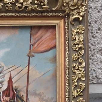 """Fragmentas iš paveikslo fragmentas """"Žalgirio mūšis""""."""