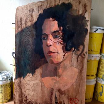 Portretas iš nuotraukos, aliejiniai dažai and medžio.