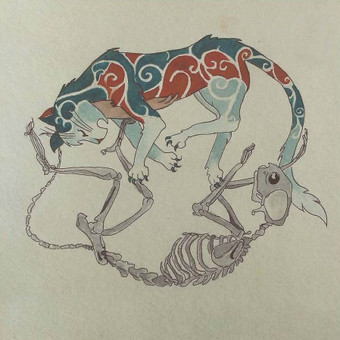 Tattoo eskizas. Akvarelė, markeris