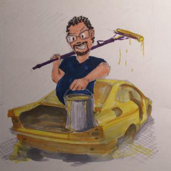 Šmaikštus eskizas automobilių dažytojams