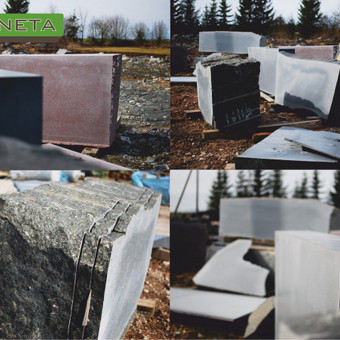 Žaliava, akmuo parsivežtas iš įvairių regijonų karjerų.
