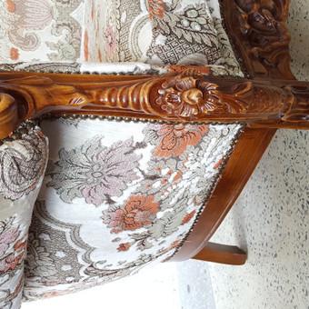 Rokoko stiliaus baldai / Odinė Sofa / Darbų pavyzdys ID 468969