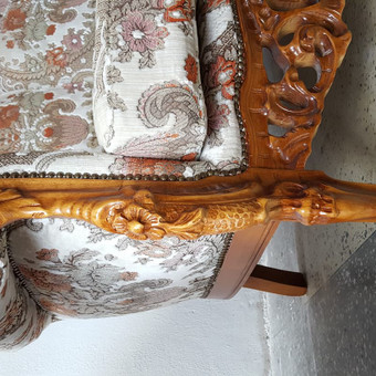 Rokoko stiliaus baldai / Odinė Sofa / Darbų pavyzdys ID 468973