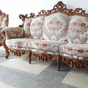 Rokoko stiliaus baldai / Odinė Sofa / Darbų pavyzdys ID 468979