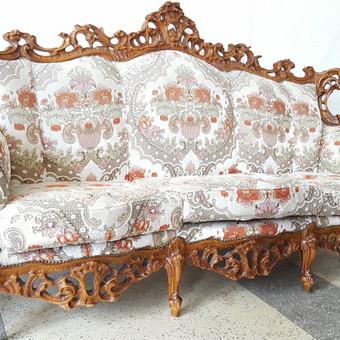 Rokoko stiliaus baldai / Odinė Sofa / Darbų pavyzdys ID 468985