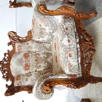 Rokoko stiliaus baldai / Odinė Sofa / Darbų pavyzdys ID 468987