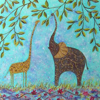 140 eur_Žirafiukas ir drambliukas 50x55, al.drobė