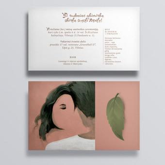 Pagal pavyzdį, pritaikant prie situacijos, nupieštas paveikslėlis akriliniais dažais ant popieriaus, nuskanuotas ir padarytas dvipusio atviruko - kvietimo maketas pritaikytas skaitmeninei spaudai ...