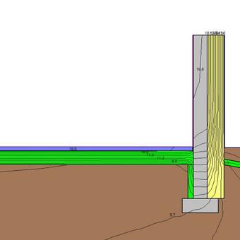 Ilginio šiluminio tiltelio tarp grindų ant grunto ir sienos  skaičiavimas Therm programa