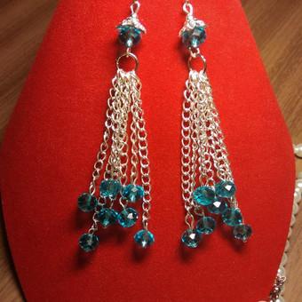 Ilgi ir Puošnus Auskarai,iš pasidabruotų juvelyrinių detalių, kristalų karoliukų