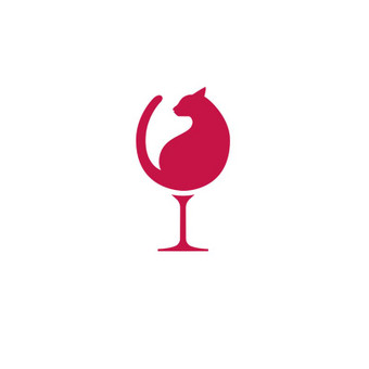 (Not) lonely lady. Logo mark, made for women club. Cats and wine are perfect company!