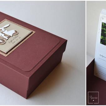 Dėžutė palinkėjimo kortelėms. Dėžutės dydis - 150 x 210. Kortelės gali būti su kišenėle nuotraukoms.