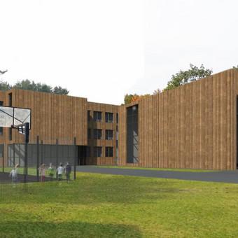 """Kačerginės mokyklos rekonstrukcijos architektūrinė dalis. Projektas rengtas bendradarbiaujant su UAB """"Projektų ekspertai"""""""