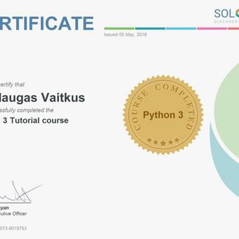 Python3 sertifikatas. Su python bibliotekomis, github ir individualiais projektais Google, Bing paieškų rinkos tyrimus ir automatizuoju rinkodarą.