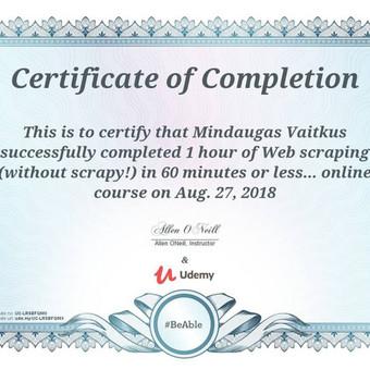 Udemy sertifikatas, su python informacijos nuskaitymui internete pagrinde.