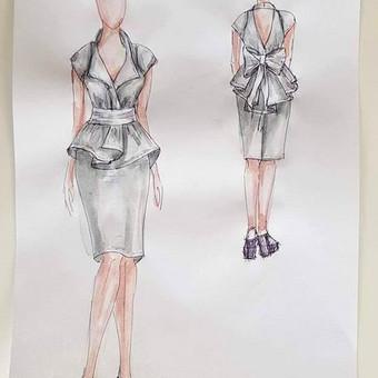 Pateikiami pagal aptartus kriterijus sukurti ir ranka nupiešti drabužių eskizai.