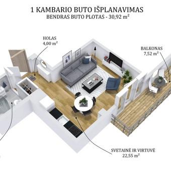 3D planai, 2D planai, vizualizacijos / Elina / Darbų pavyzdys ID 501313