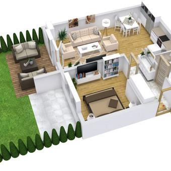 3D planai, 2D planai, vizualizacijos / Elina / Darbų pavyzdys ID 501315