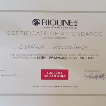 """Kvalifikacijos kėlimo seminaras """"Grožio akademija"""" sertifikatas """"Bioline"""" kosmetinių procedūrų panaudojimas estetinėje medicinoje (Kipras)"""