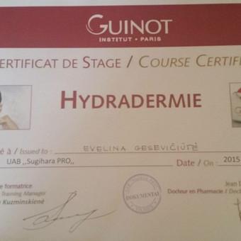 """Kvalifikacijos kėlimas. Guinot seminaras """"Hydradermie dvigubos jonizacijos aparatinė procedūra. Hydradermie Lift stangrinamoji aparatinė procedūra"""""""