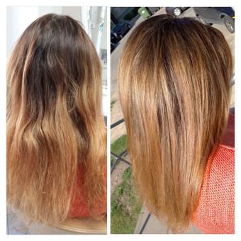Plaukų dažymas: tamsintos šaknys ir pakeltos ataugusios sruogelės, tonuota - išlyginta spalva.