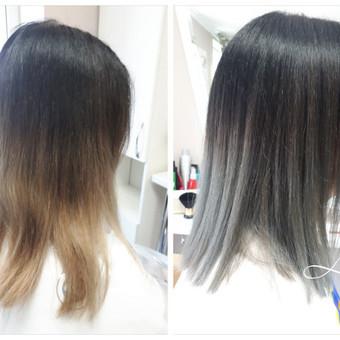 Plaukai tonuoti (nešviesinti), neutralizuojant geltonai oranžinį atspalvį, nukirpti.