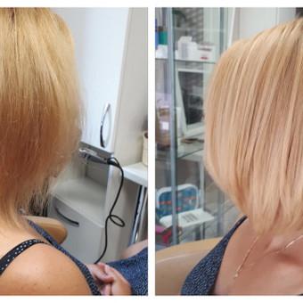 Klientė pasiryžo pokyčiams :). Bob care kirpimas storiems plaukams. Plaukai tonuoti į šiltą rožinį atspalvį.