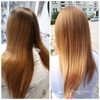 Ataugimas daugiau nei 10 cm. Nudažyti natūralūs  plaukai, sulygintas atspalvis per visą ilgį.