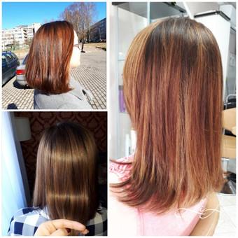 Klientei atlikta Ilgalaikio tiesinimo  su negyvosios jūros mineralais procedūra, nudažyti  plaukai.  Paskutinėje foto klientės plaukai po  4 mėnesių. Akivaizdu, kad tiesinimo kartoti nereikia.