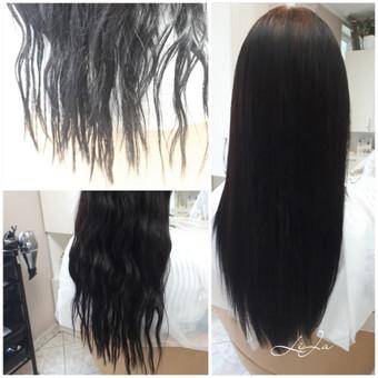 Ilgalaikis tiesinimas labai nualintiems, pažeistiems, besiveliantiems, gyvybę praradusiems plaukams. Atsisakėme kirpimo :)