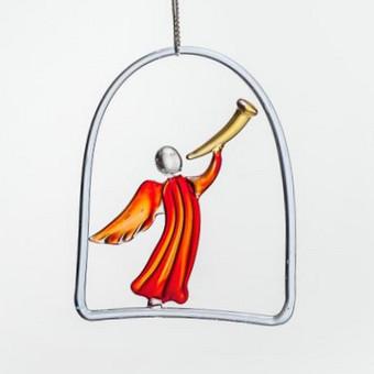 """Kabinamas ant lango, sienos, po šviestuvu raudono,  mėlyno arba balto stiklo """"Džiaugsmo angelas"""" Dydis 10x10cm"""