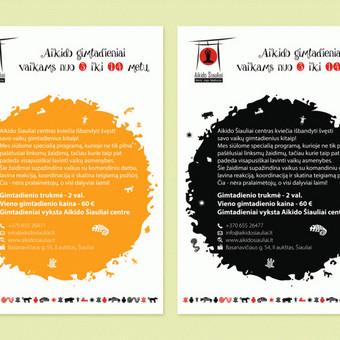 """""""Aikido gimtadieniai vaikams nuo 3 iki 14 metų"""" plakatai © Tatjana Iljina"""