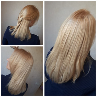 Plaukų šviesinimas Affinage dažais.