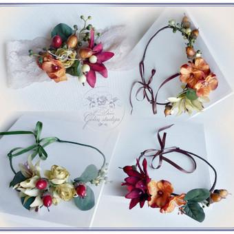 Šilko gėlių lankeliai ir galvos juosta rudens tema