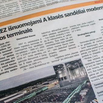 """Parengiau reklaminį straipsnį apie Kauno Laisvojoje ekonominėje zonoje išnuomojamas patalpas ir pasirūpinau jo sumaketavimu. Straipsnis publikuotas laikraštyje """"Verslo žinios""""."""