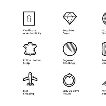 Ikonų dizainas laikrodžių prekinio ženklo Filippo Loreti mobiliajai programėlei.