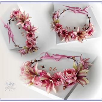 Šilko gėlių lankelis