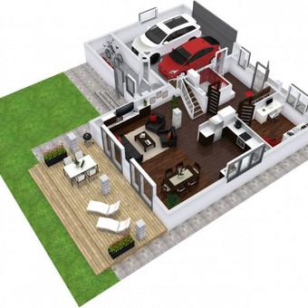 3D planai, 2D planai, vizualizacijos / Elina / Darbų pavyzdys ID 536593