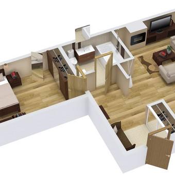 3D planai, 2D planai, vizualizacijos / Elina / Darbų pavyzdys ID 536609