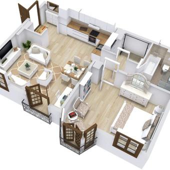 3D planai, 2D planai, vizualizacijos / Elina / Darbų pavyzdys ID 536613