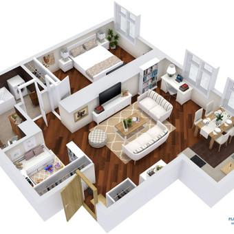 3D planai, 2D planai, vizualizacijos / Elina / Darbų pavyzdys ID 536617