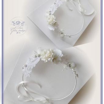 Šilko gėlių lankelis (rankų darbas) nuotakai