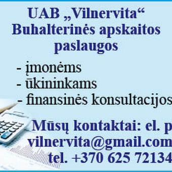 Buhalterinė apskaita įmonėms ir ūkininkams / UAB Vilnervita / Darbų pavyzdys ID 541027