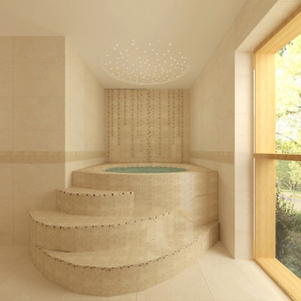 Sanmazgas 20kv/m su šešių vietų jacuzzi, kuriama prabangi atmosfera primenanti spa hamam.