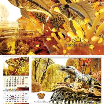 Kalendoriaus dizainas naudojant gintaro meno dirbinius ir gintaro nuotraukas. Plius UV dalinis lakavimas.