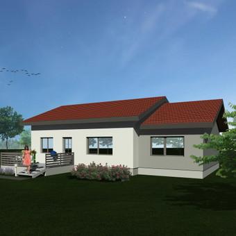 Pagal pateiktus brėžinius sukurta pastato vizualiazcija parenkant fasado apdailos spalvas